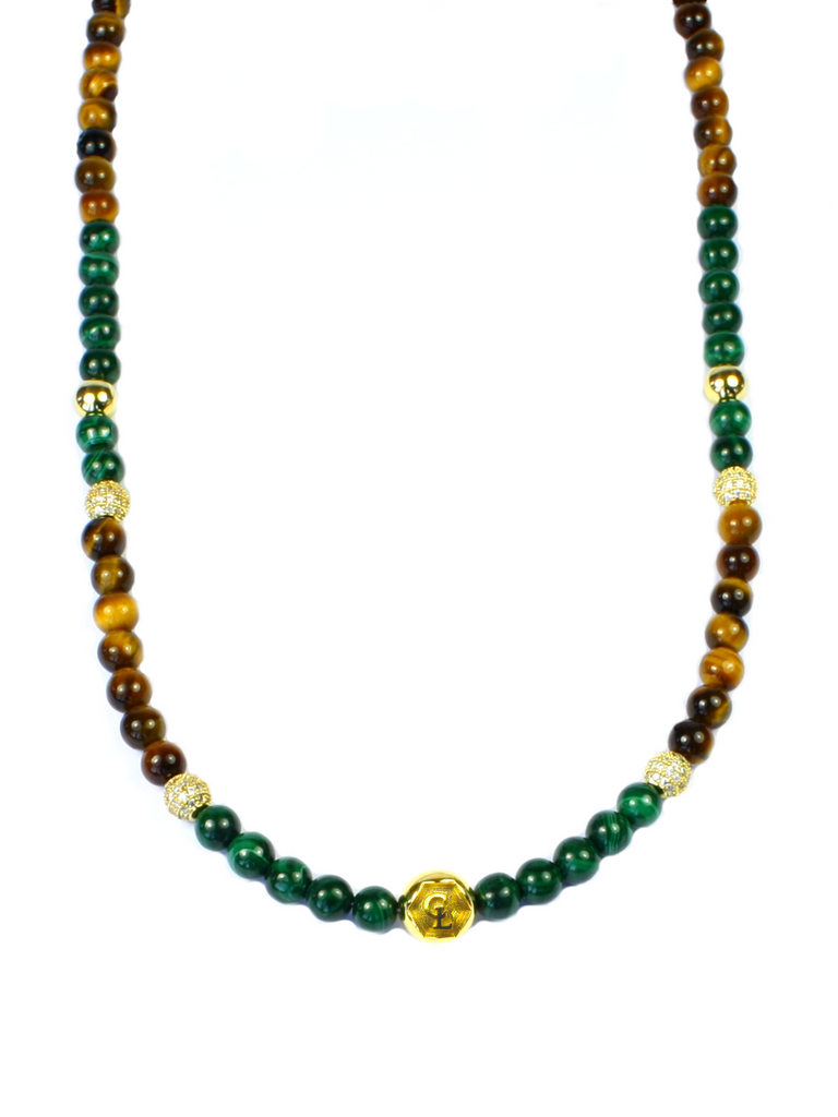 Women's Beaded Necklace with Malachite, Brown Tiger Eye, CZ Diamonds and Gold