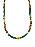 Women's Beaded Necklace with Malachite, Brown Tiger Eye, CZ Diamonds and Gold | Clariste Jewelry