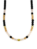 Women's Beaded Necklace with Sunstone and Black Agate
