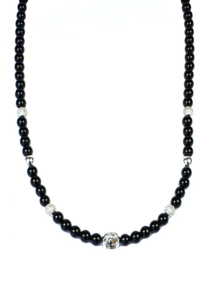 Women's Beaded Necklace with Black Agate, CZ Diamonds and Silver