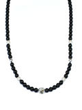 Women's Beaded Necklace with Black Agate, CZ Diamonds and Silver | Clariste Jewelry