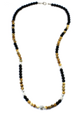 Women's Beaded Necklace with Jasper, Matte Onyx, CZ Diamonds and Silver | Clariste Jewelry - 2