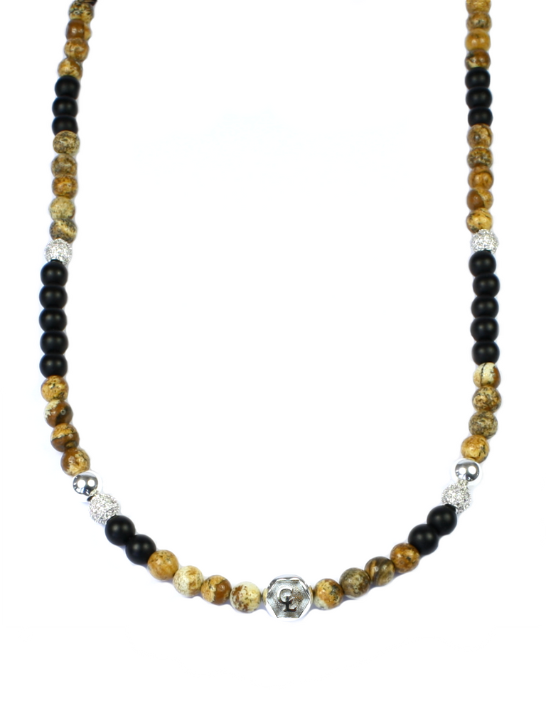 Women's Beaded Necklace with Jasper, Matte Onyx, CZ Diamonds and Silver