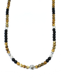 Women's Beaded Necklace with Jasper, Matte Onyx, CZ Diamonds and Silver | Clariste Jewelry