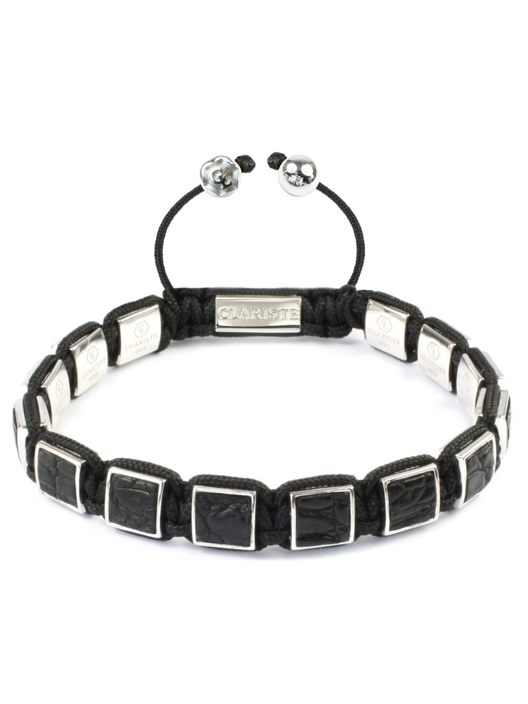 Women's Black Crocodile Square Bead Bracelet Silver