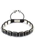 Women's Black Crocodile Square Bead Bracelet Silver| Clariste Jewelry