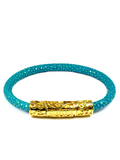 Women's Turquoise Stingray Bracelet with Gold Lock | Clariste Jewelry - 4