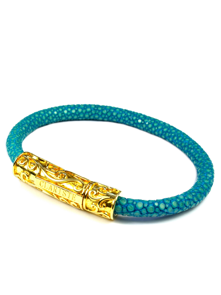 Women's Turquoise Stingray Bracelet with Gold Lock