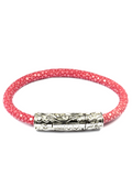 Women's Pink Stingray Bracelet with Silver Lock | Clariste Jewelry - 4