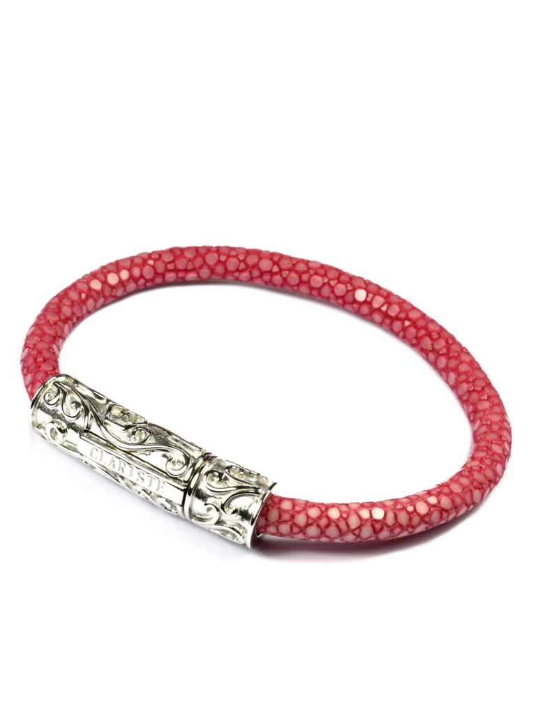 Women's Pink Stingray Bracelet with Silver Lock