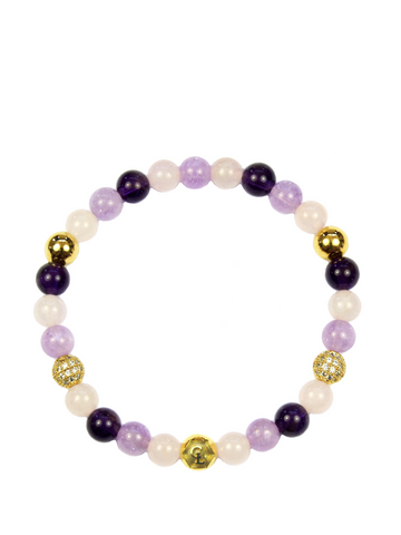 Women's Wristband with Amethyst, Rose Quartz and Amethyst Lavender