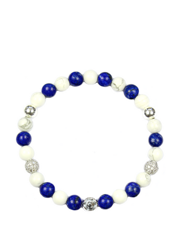 Women's Wristband with Blue Lapis, Howlite and Silver