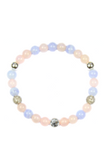 Women's Wristband with Rose Quartz and Blue Lace Agate | Clariste Jewelry