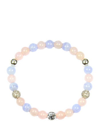 Women's Wristband with Rose Quartz and Blue Lace Agate