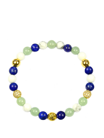 Women's Wristband with Aventurine, Blue Lapis and Howlite