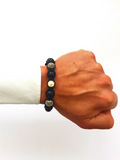 Men's Beaded Bracelet with Black Agate and Silver | Clariste Jewelry - 2
