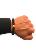 Men's Beaded Bracelet with Matte Onyx and Gold | Clariste Jewelry - 2
