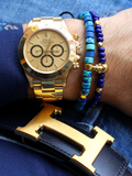 Men's Skull Bracelet Blue and Gold | Clariste Jewelry - 3