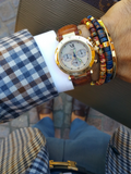 Men's Ceramic Bead Bracelet Dark Blue and Gold | Clariste Jewelry - 4