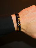 Men's Double Beaded Bracelet with Brown Tiger Eye, Black Agate and Gold | Clariste Jewelry - 2