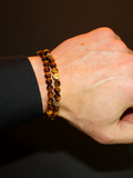 Men's Double Beaded Bracelet with Brown Tiger Eye, CZ Diamonds and Gold | Clariste Jewelry - 2