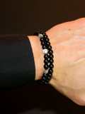 Men's Double Beaded Bracelet with Matte Onyx, CZ Diamonds and Silver | Clariste Jewelry - 2