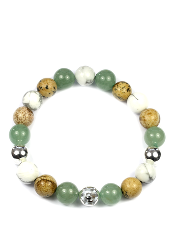 Men's Wristband with Aventurine, Jasper, Howlite and Silver