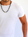 Men's Beaded Necklace with Black Agate and Gold | Clariste Jewelry - 3