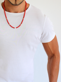 Men's Beaded Necklace with Red Coral and Silver | Clariste Jewelry - 3