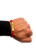 Men's Red Leather Bracelet with Gold Lock | Clariste Jewelry - 4