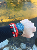 Men's Beaded Bracelet with Red Coral and CZ Diamond