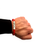 Men's Red Leather Bracelet with Silver Lock | Clariste Jewelry - 4