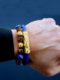Men's Beaded Bracelet with Blue Lapis and Brown Tiger Eye | Clariste Jewelry - 2