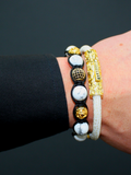 Men's Beaded Bracelet with Howlite and CZ Diamond, Gold | Clariste Jewelry - 2
