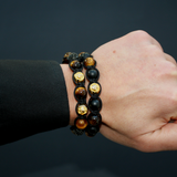 Men's Beaded Bracelet with Matte Onyx, Brown Tiger Eye and Gold