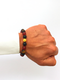 Men's Wristband with Red Jade, Matte Onyx, Brown Tiger Eye and Gold | Clariste Jewelry - 2