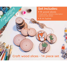 Load image into Gallery viewer, 14 Piece Wood Slice Craft Pack - Wood slice kits