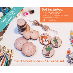 14 Piece Wood Slice Craft Pack - Wood slice kits