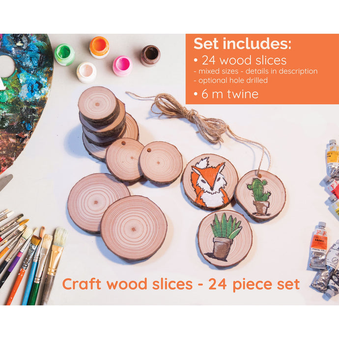 24 Piece Wood Slice Craft Pack - Wood slice kits