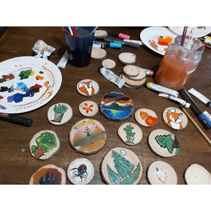 35 Piece Wood Slice Craft Pack - Wood slice kits