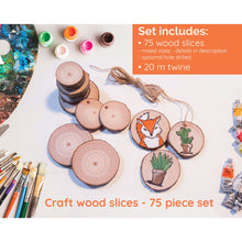 Load image into Gallery viewer, 75 Piece Wood Slice Craft Pack - Wood slice kits