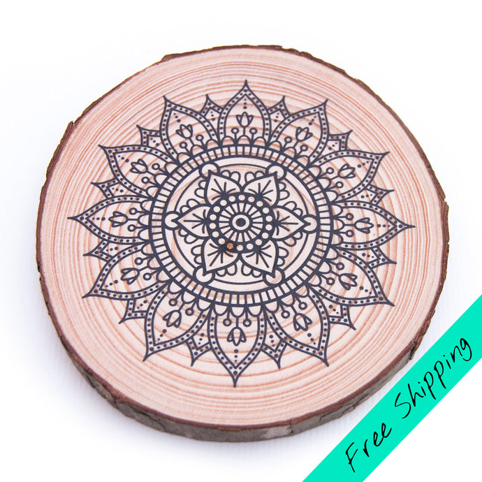 Colouring Wood Slice - Mandala
