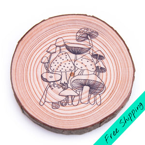 Colouring Wood Slice - Mushrooms