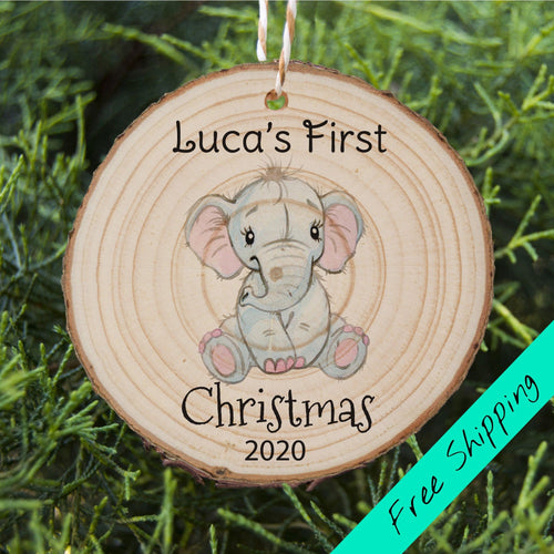 Baby's First Christmas - Elephant - Personalised Ornament