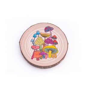 Colouring Wood Slice - Mushrooms - Colouring