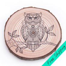 Load image into Gallery viewer, Colouring Wood Slice - Owl - Colouring