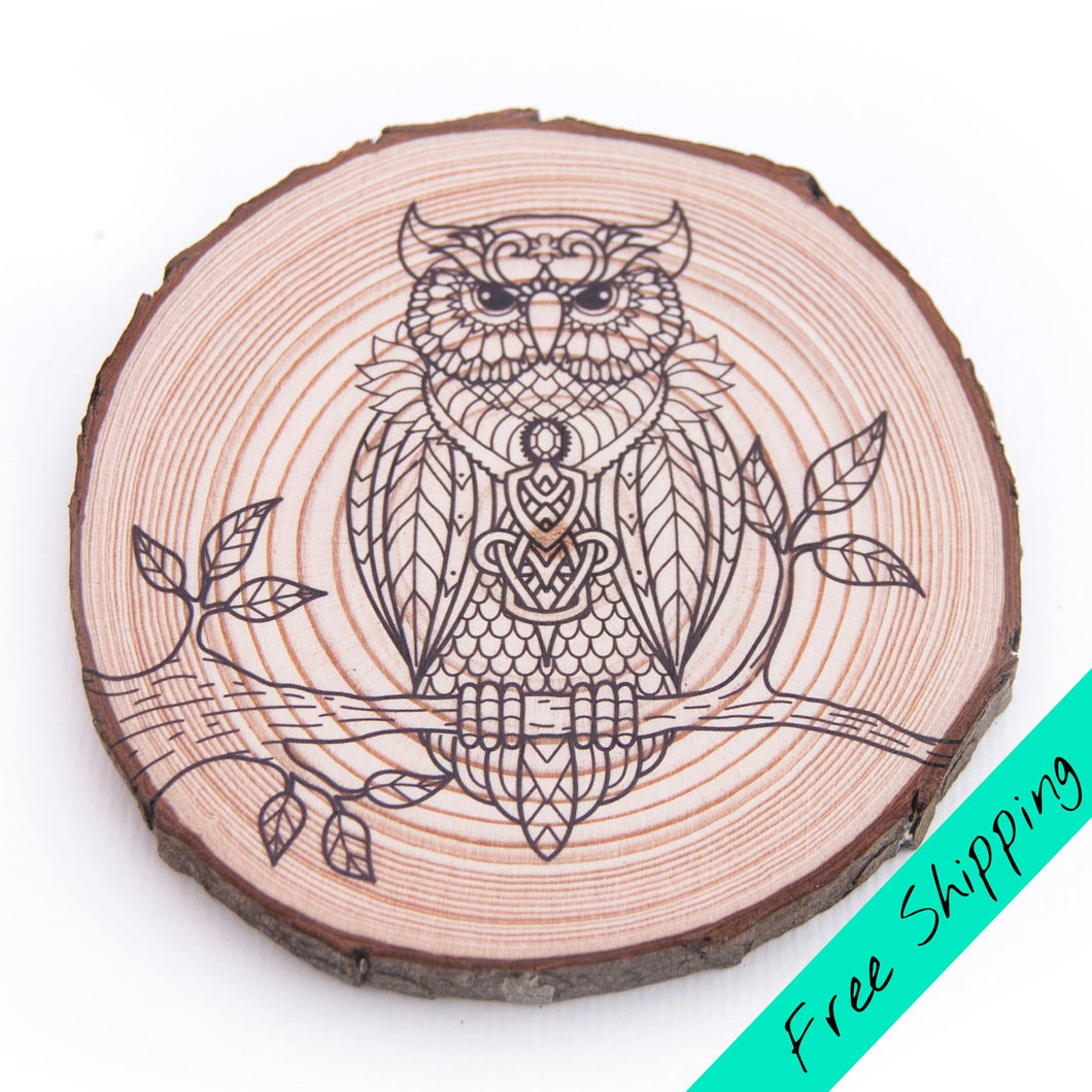 Colouring Wood Slice - Owl - Colouring