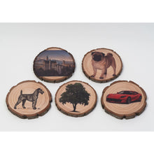 Load image into Gallery viewer, Custom Wood Slice Coaster Custom Coasters Business Logo Coasters Personalized Coaster Wood Slice Coasters For Wedding Tree Slice Coasters