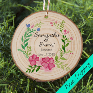 Engaged Couple Ornament - Floral - Personalised Ornament