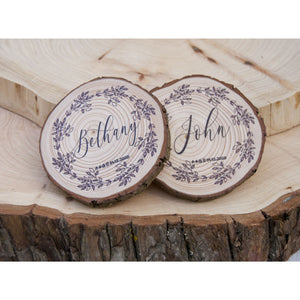 Personalised Wedding Favour Coasters - Wreath Design - Wedding favour